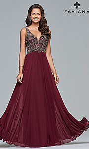 Image of long v-neck Faviana prom dress with beaded bodice. Style: FA-10017 Detail Image 3