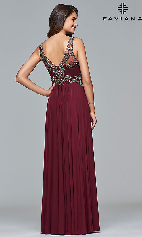 Image of long v-neck Faviana prom dress with beaded bodice. Style: FA-10017 Back Image
