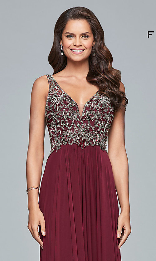 Image of long v-neck Faviana prom dress with beaded bodice. Style: FA-10017 Detail Image 1