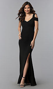 Image of long cold-shoulder side-slit black prom dress. Style: EM-COA-1606-001 Front Image