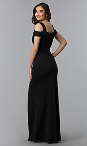 Image of long cold-shoulder side-slit black prom dress. Style: EM-COA-1606-001 Back Image