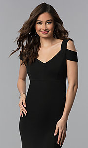 Image of long cold-shoulder side-slit black prom dress. Style: EM-COA-1606-001 Detail Image 1
