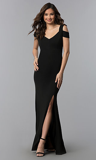 Long Cold-Shoulder Side-Slit Black Prom Dress