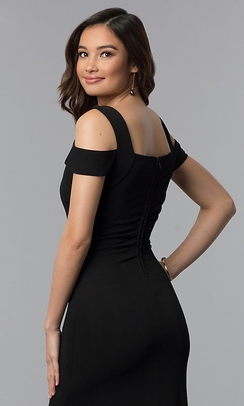 Image of long cold-shoulder side-slit black prom dress. Style: EM-COA-1606-001 Detail Image 3