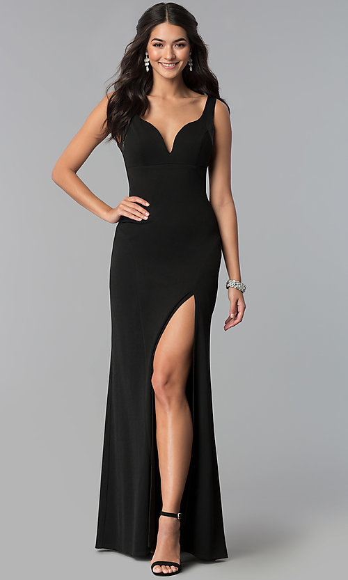 Image of long v-neck side-slit prom dress. Style: EM-CPS-1606-001 Front Image