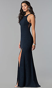 Image of long glitter jersey caged-side navy prom dress. Style: EM-CQF-3290-430 Detail Image 2