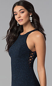 Image of long glitter jersey caged-side navy prom dress. Style: EM-CQF-3290-430 Detail Image 3