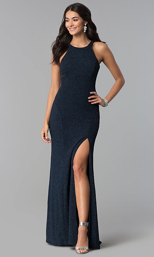 Image of long glitter jersey caged-side navy prom dress. Style: EM-CQF-3290-430 Front Image