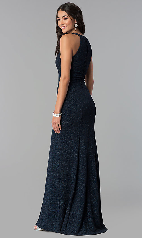 Image of long glitter jersey caged-side navy prom dress. Style: EM-CQF-3290-430 Back Image