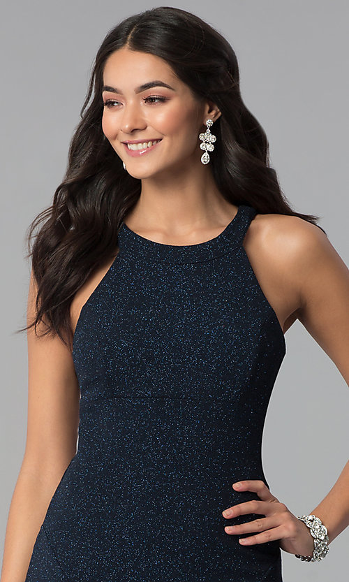 Image of long glitter jersey caged-side navy prom dress. Style: EM-CQF-3290-430 Detail Image 1