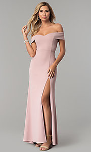 Image of off-the-shoulder long rose pink prom dress with slit. Style: EM-CSK-3405-630 Detail Image 1