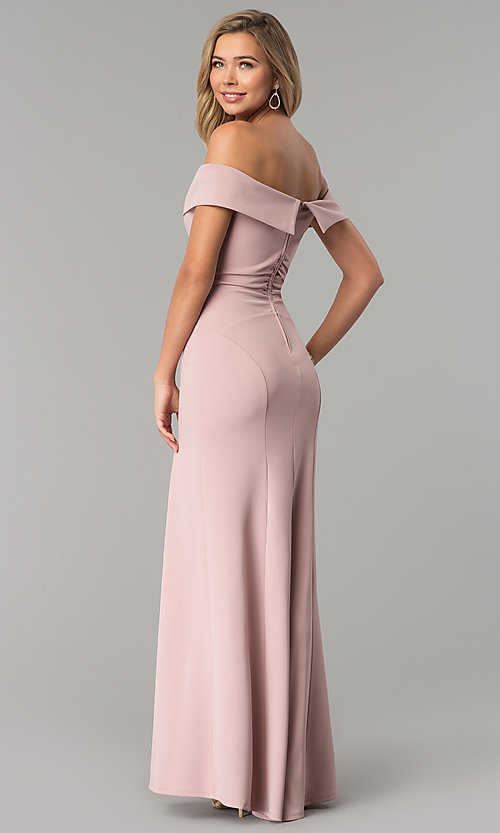 Image of off-the-shoulder long rose pink prom dress with slit. Style: EM-CSK-3405-630 Back Image