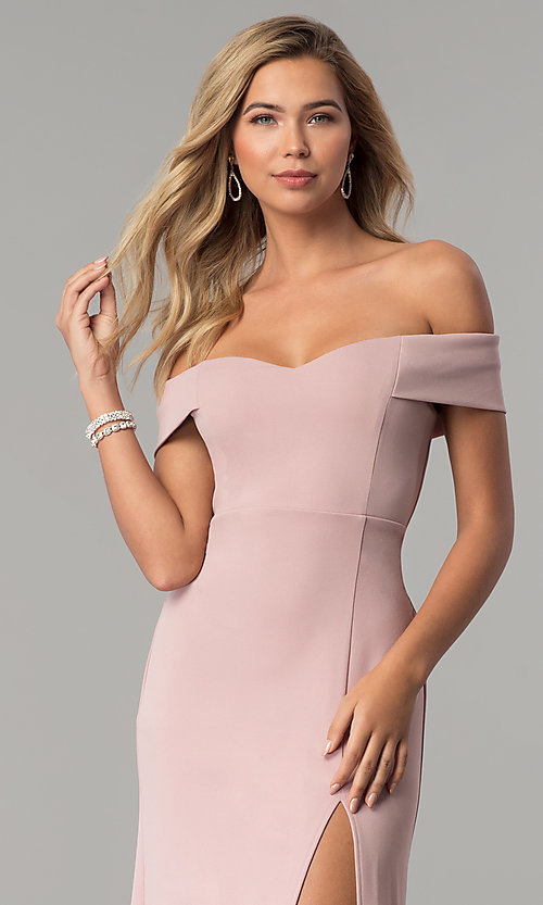 Image of off-the-shoulder long rose pink prom dress with slit. Style: EM-CSK-3405-630 Detail Image 2