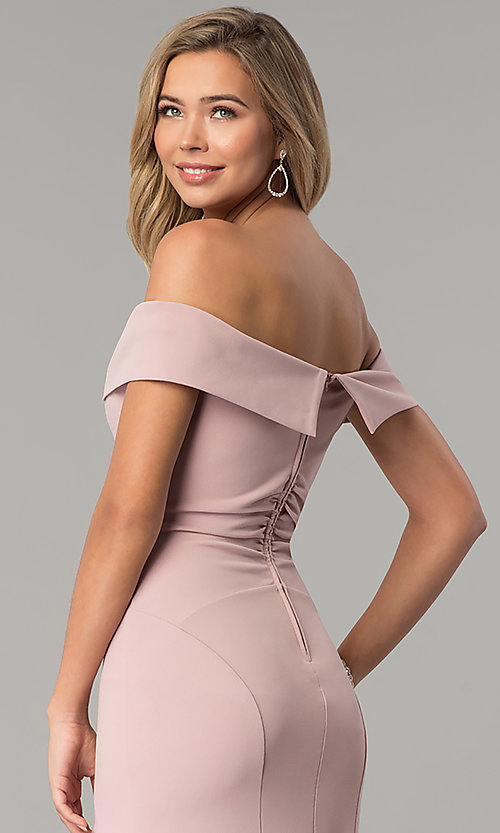 Image of off-the-shoulder long rose pink prom dress with slit. Style: EM-CSK-3405-630 Detail Image 3
