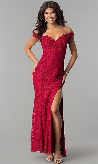 Off-the-Shoulder Long Lace Prom Dress by PromGirl