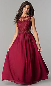 Image of floor-length prom dress with lace by PromGirl. Style: SOI-PL-D15669 Detail Image 2