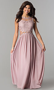 Image of floor-length prom dress with lace by PromGirl. Style: SOI-PL-D15669 Front Image