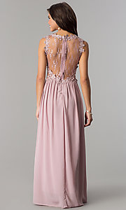 Image of floor-length prom dress with lace by PromGirl. Style: SOI-PL-D15669 Back Image