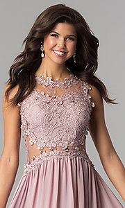 Image of floor-length prom dress with lace by PromGirl. Style: SOI-PL-D15669 Detail Image 1