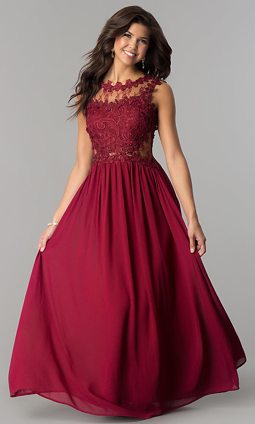 Lace Applique Bodice Long Cheap Prom Dress Promgirl