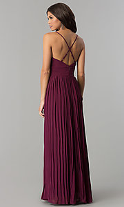 Image of long pleated chiffon prom dress by PromGirl. Style: SOI-PL-D16411 Back Image