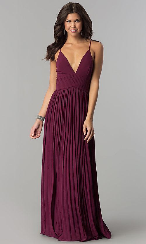 Image of long pleated chiffon prom dress by PromGirl. Style: SOI-PL-D16411 Front Image
