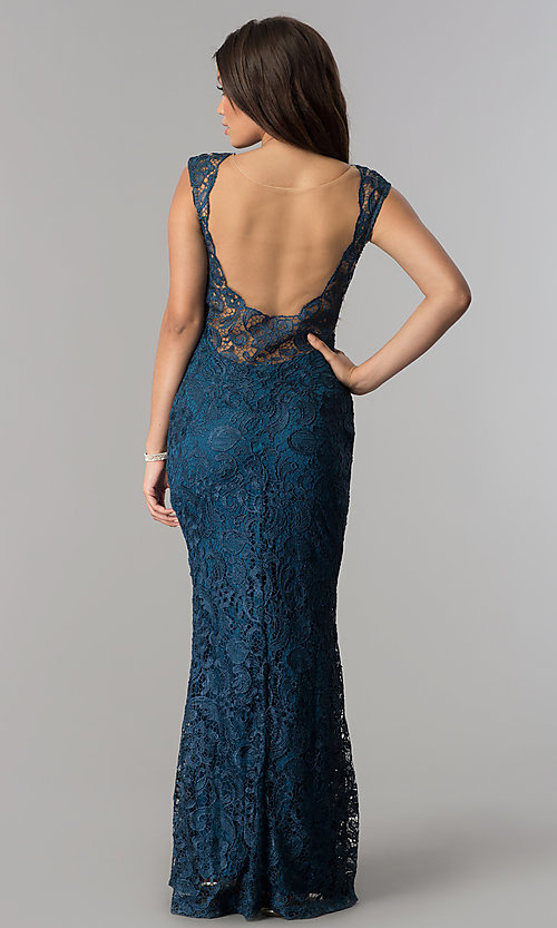 Image of lace long prom dress with illusion back by PromGirl. Style: SOI-PL-D15688-2 Back Image