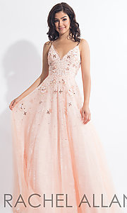 Long Open-Back Lace Rachel Allan Prom Dress