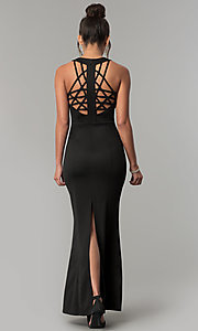 Image of long scoop-neck open-back formal black prom dress. Style: AC-PL-DS24276B Detail Image 3