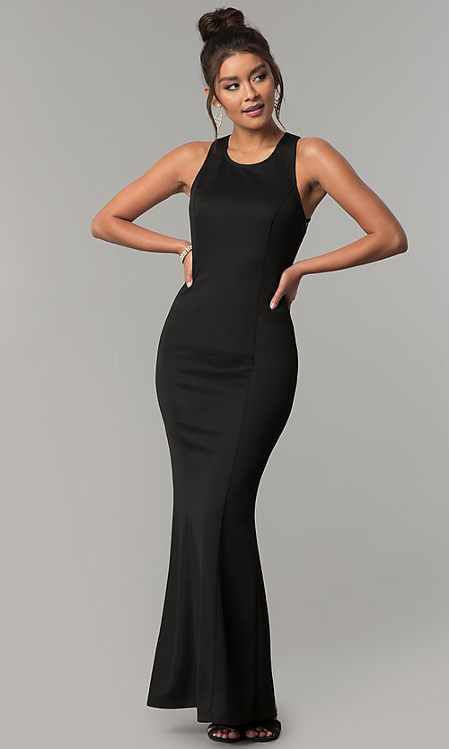 Image of long scoop-neck open-back formal black prom dress. Style: AC-PL-DS24276B Back Image