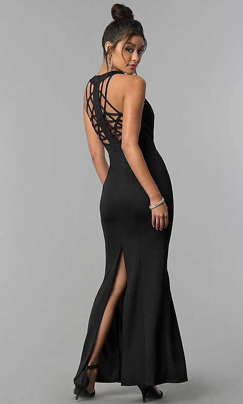 Image of long scoop-neck open-back formal black prom dress. Style: AC-PL-DS24276B Front Image