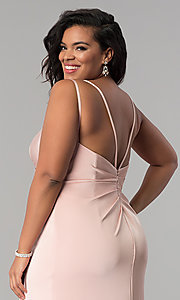 Image of Faviana long dusty pink plus formal prom dress. Style: FA-7755E Detail Image 2