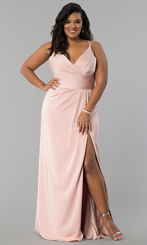 Image of Faviana long dusty pink plus formal prom dress. Style: FA-7755E Front Image