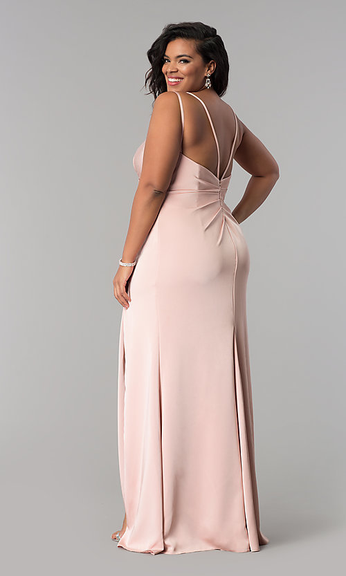 Image of Faviana long dusty pink plus formal prom dress. Style: FA-7755E Back Image