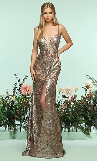 Sequin V-Neck Prom Dress with a Sheer Skirt