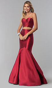 Burgundy Red Two-Piece Prom Dress by PromGirl