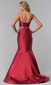 Image of burgundy red two-piece prom dress by PromGirl. Style: BL-PL-3186 Detail Image 3