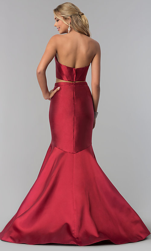 Image of burgundy red two-piece prom dress by PromGirl. Style: BL-PL-3186 Back Image