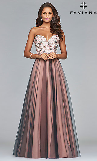 c3023b5ddb Long A-Line Prom Dress with an Open Lace-Up Back