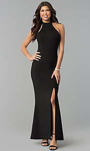 Long High-Neck Side-Slit Halter Prom Dress