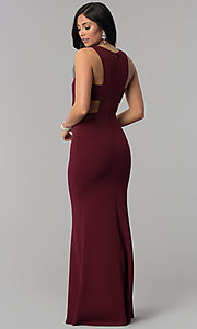 Image long princess-cut burgundy prom dress with cut outs. Style: MT-9148 Back Image