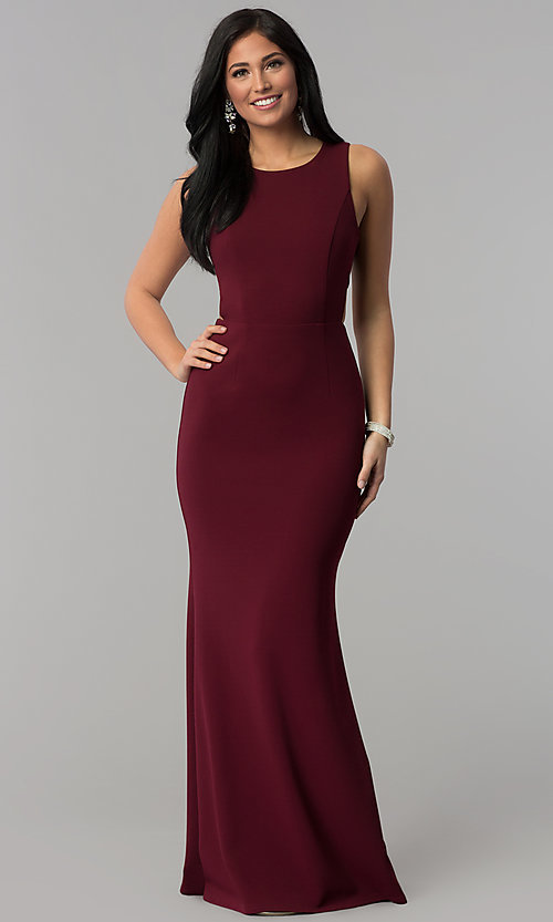 Image long princess-cut burgundy prom dress with cut outs. Style: MT-9148 Front Image