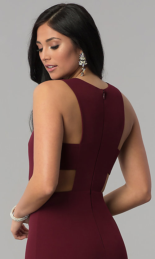 Image long princess-cut burgundy prom dress with cut outs. Style: MT-9148 Detail Image 2