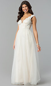 Long Ivory White Tulle Prom Dress with Lace Bodice