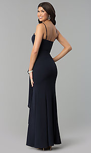 Image of long strapless prom dress with mock-wrap skirt. Style: MT-8963 Back Image