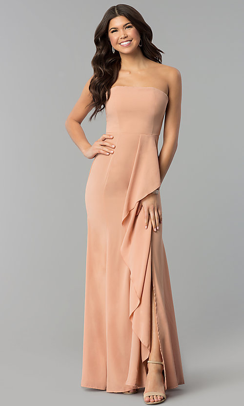 Image of long strapless prom dress with mock-wrap skirt. Style: MT-8963 Detail Image 1