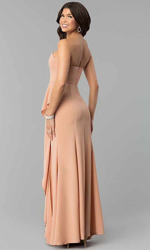 Image of long strapless prom dress with mock-wrap skirt. Style: MT-8963 Detail Image 3
