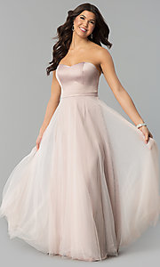 Long Strapless Satin Prom Dress with Tulle Overlay