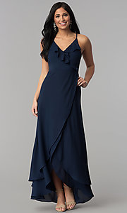 Image of long faux-wrap navy blue prom dress with corset. Style: MT-8455 Front Image