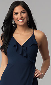Image of long faux-wrap navy blue prom dress with corset. Style: MT-8455 Detail Image 1